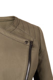 Front detail of Atelier Francesca Moto Style Jacket in Army