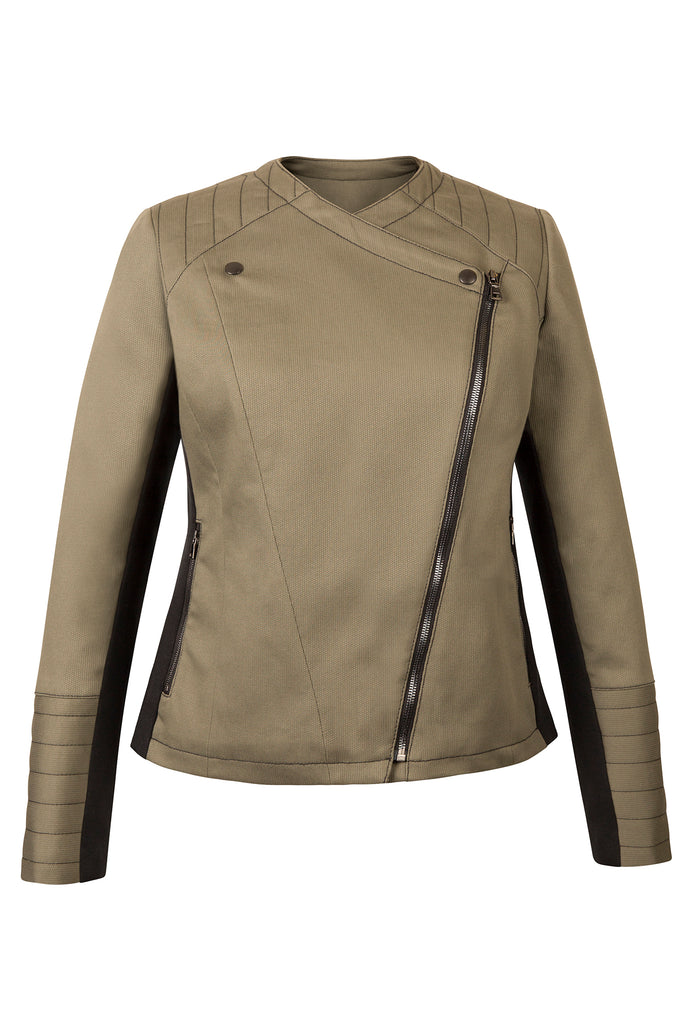 Atelier Francesca Moto Style Jacket in Army with Black contrast details