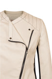 Front detail of Atelier Francesca Moto Style Jacket in Khaki with Black contrast details