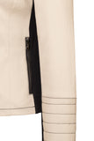 Pocket detail of Atelier Francesca Moto Style Jacket in Khaki with Black contrast details