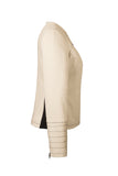 Side view of Atelier Francesca Moto Style Jacket in Khaki with Black contrast details