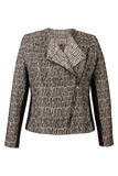 Atelier Francesca Black & White Moto Jacket, asymmetric zipper