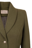 Atelier Francesca Army Green Statement Jacket. Shawl collar.