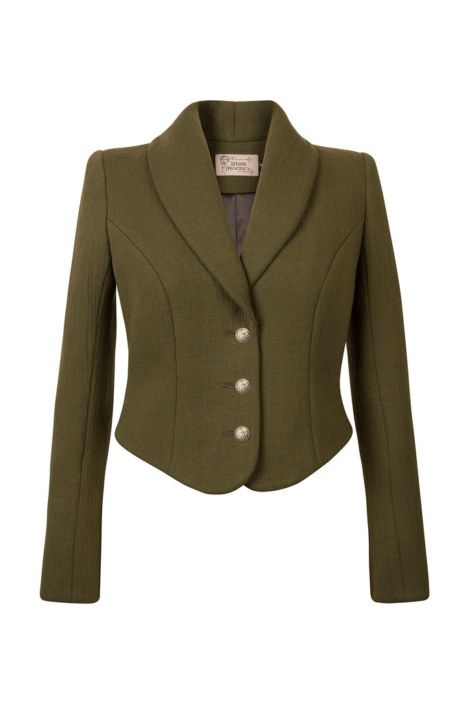 Atelier Francesca Army Green Statement Jacket. Shawl collar. Back detail.