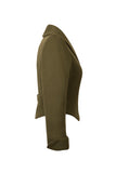 Side view of Atelier Francesca Army Green Statement Jacket. Shawl collar.