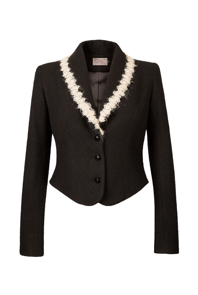 Atelier Francesca Black Jacket with Ecru Angora Trim, crepe knit, comfortable.