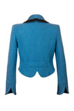 Back of Atelier Francesca Teal Blue Jacket with Black Angora Trim, vintage vibe.