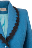 Detail of Atelier Francesca Teal Blue Jacket with Black Angora Trim.