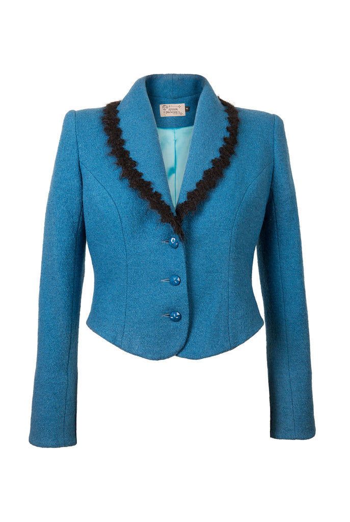 Atelier Francesca Teal Blue Jacket with Black Angora Trim, vintage vibe.