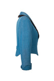 Side view of Atelier Francesca Teal Blue Jacket with Black Angora Trim.