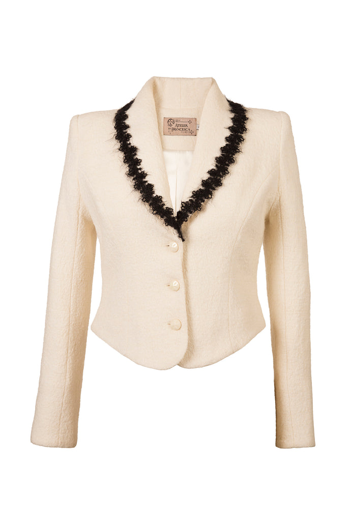 Atelier Francesca White Jacket with Black Angora Trim, crepe knit, vintage vibe.