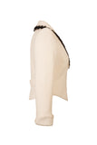 Side view of Atelier Francesca White Jacket with Black Angora Trim, vintage vibe.