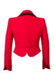 Reverse of Atelier Francesca Red Jacket with Black Angora Trim, back detail.