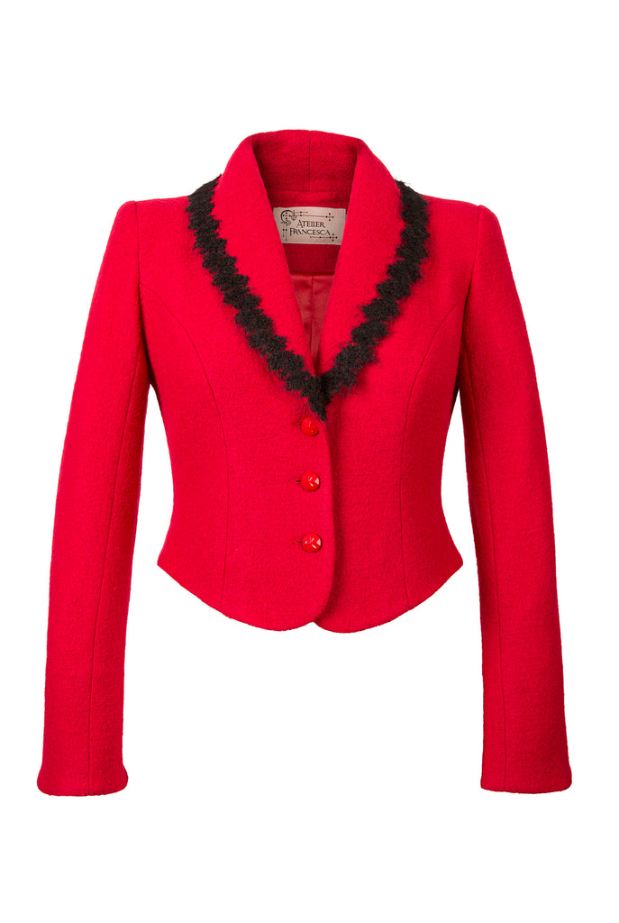 Atelier Francesca Red Jacket with Black Angora Trim, crepe knit.