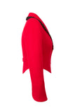 Side view of Atelier Francesca Red Jacket with Black Angora Trim.