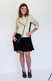 Atelier Francesca Moto Style Jacket in Khaki with Black skirt