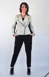Atelier Francesca Moto Style Jacket in Khaki with Black Cargo Pants