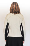 Back View of Atelier Francesca Moto Jacket, Quilting Details, Contrast Stitching