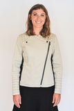 Atelier Francesca Moto Style Jacket in Khaki with Black contrast details