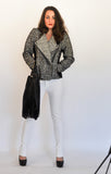 Black & White Moto Jacket with White Jeans & fringed bag