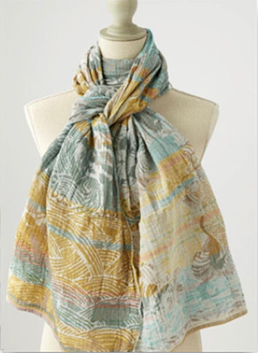 The Ondine scarf has waves, coral & plants motifs in aqua, grey and moss yellow