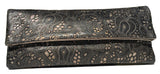 Lousie Farnay laser cut leather clutch in black and bronze
