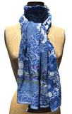 The Letol Samantha scarf has lush floral motifs in azure blues, grey and highlights of purple.
