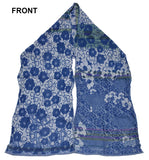 Front of Letol Samantha scarf in azure blues, grey and highlights of purple.