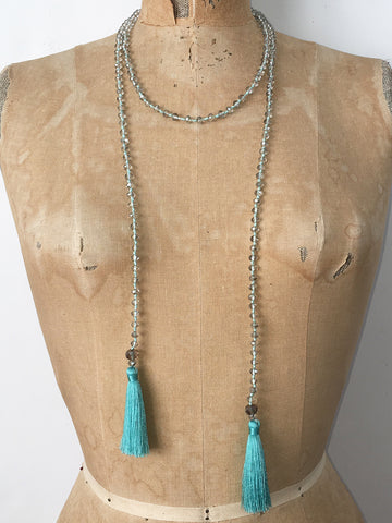 Lil Jewellry, Handcrafted Faceted Crystal Necklace - Turquoise