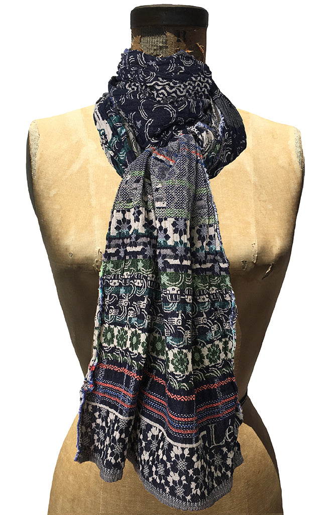Letol Twilight scarf in navy, warm grey and accents of turquoise, green and orange