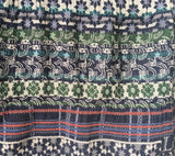 Detail of Letol scarf Twilight in navy, warm grey, turquoise, green and orange