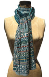 Letol Twilight scarf in deep teal, warm grey and accents of turquoise, russet and gold