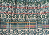 Detail of Letol scarf Twilight in deep teal, warm grey, turquoise, green and russet