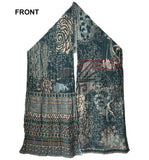 Front of Letol Twilght scarf in deep teal, warm grey with accents of turquoise, russet and gold