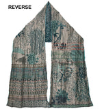Reverse of Letol Twilight scarf in warm grey with accents of deep teal, turquoise, russet and gold