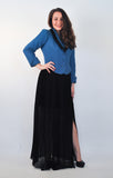 Atelier Francesca Teal & Black Jacket styled with full length black sheer skirt.