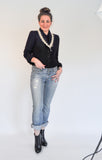 Atelier Francesca Black Jacket with Ecru trim, styled with Boyfriend Jeans.