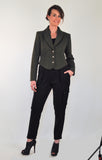 Atelier Francesca Statement Jacket in Army Green with black cargo pants.
