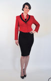 Atelier Francesca Red & Black Jacket styled with black pencil skirt.
