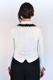 Back View of Atelier Francesca White Jacket shows back & sleeve detail.