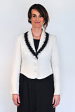 Atelier Francesca White & Black Jacket styled with black wide leg pants.