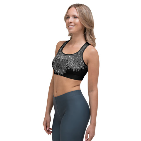 Alchemy Rising, Lacy Mandala Sports Bra – Soft Black