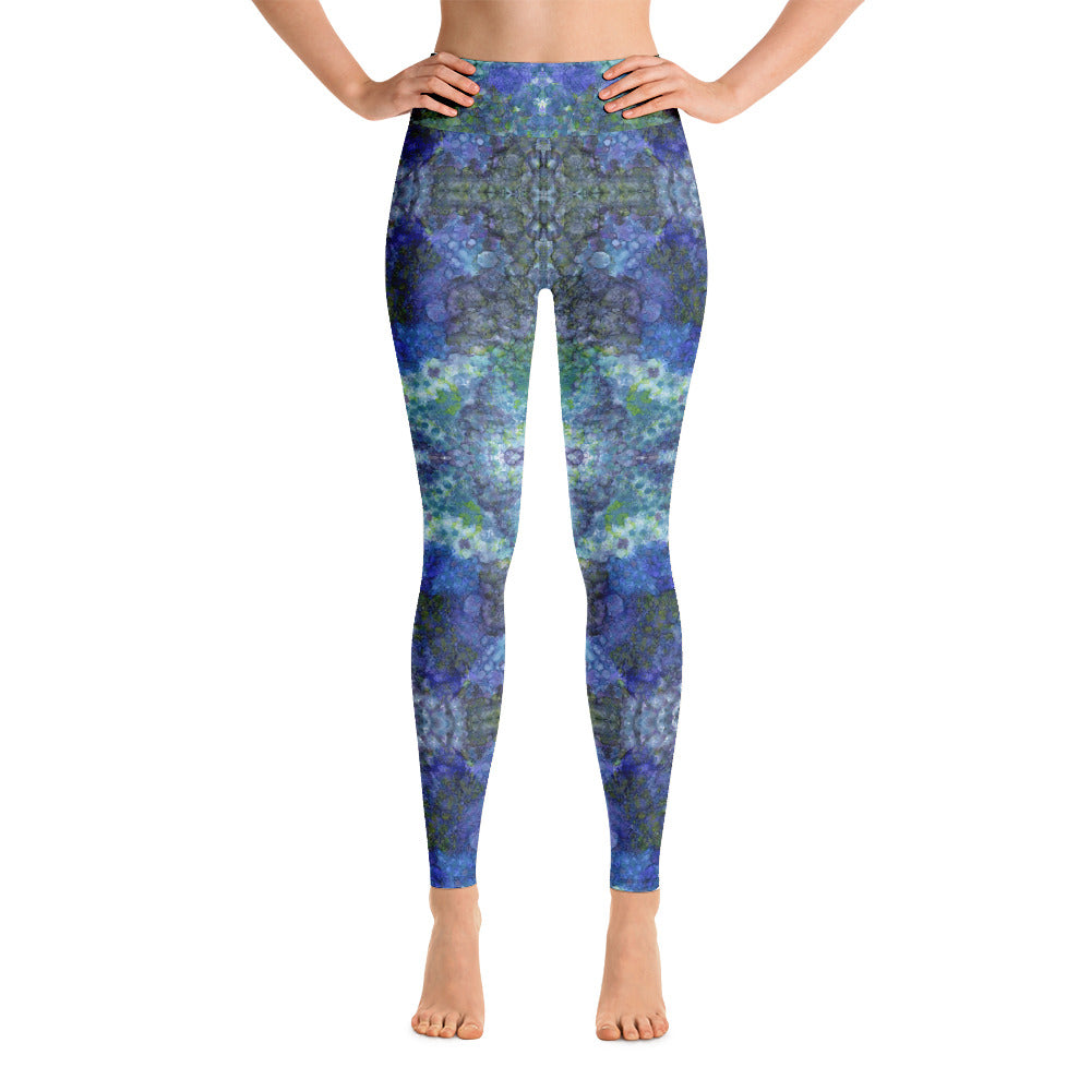 Abstract mandala print leggings in blue and green. Print on demand,
