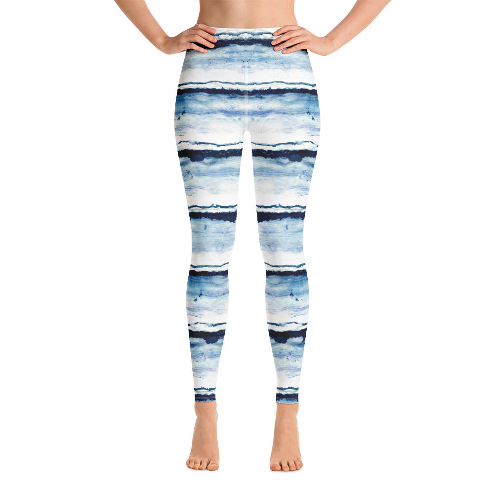 Blue Brush Strokes on white print leggings. Print on demand.