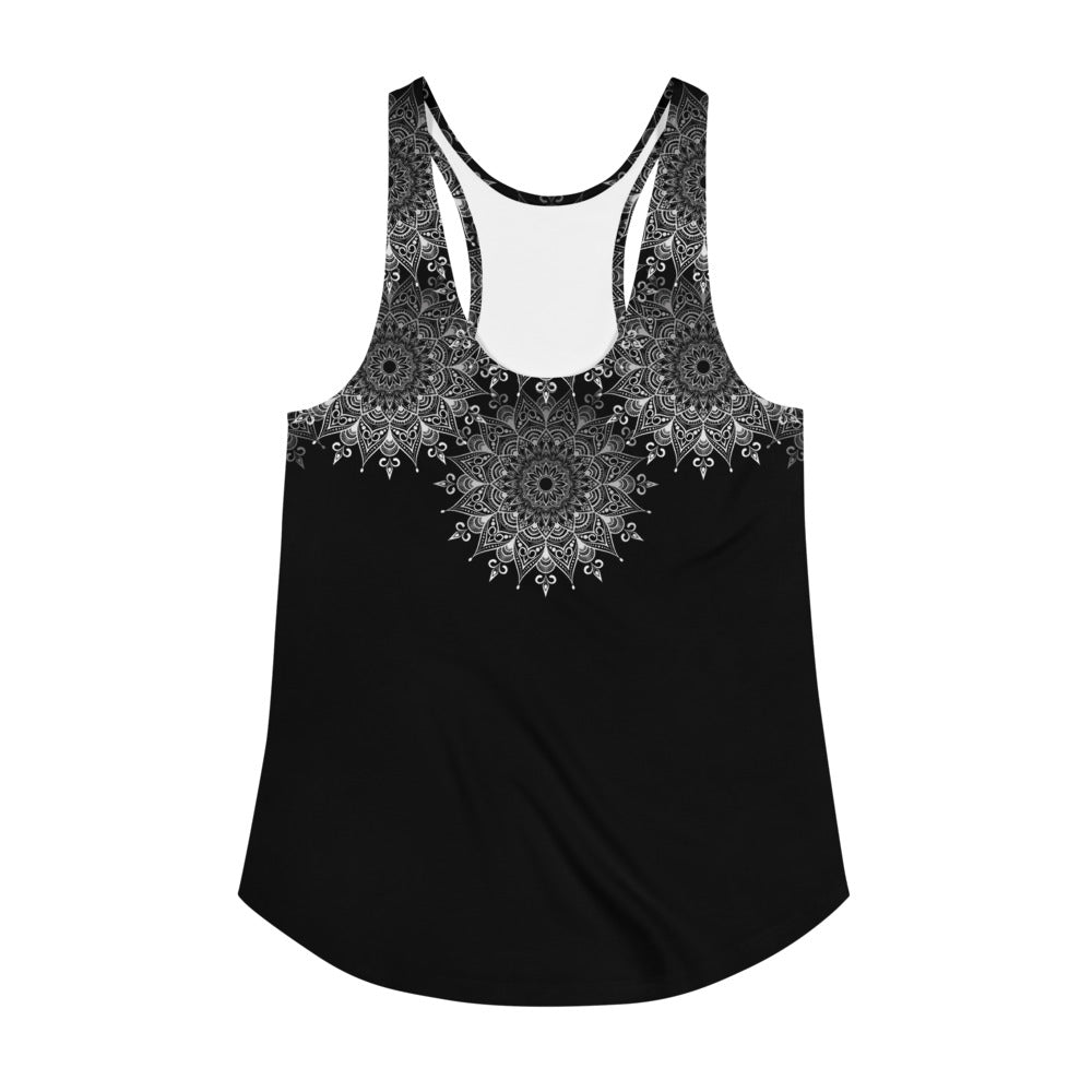 Mandala print racerback tank. Print on demand. Black and white