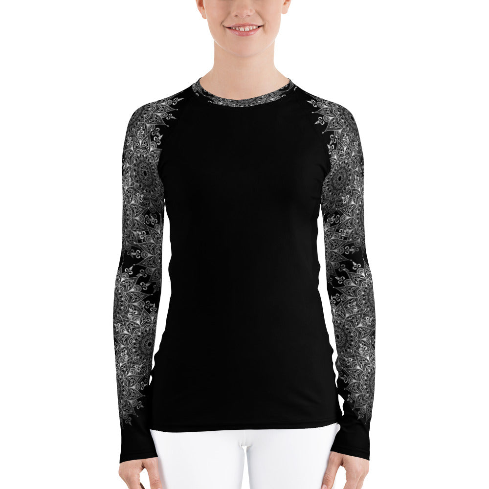 Lacy Mandala print rash guard top, black and white. Print on demand