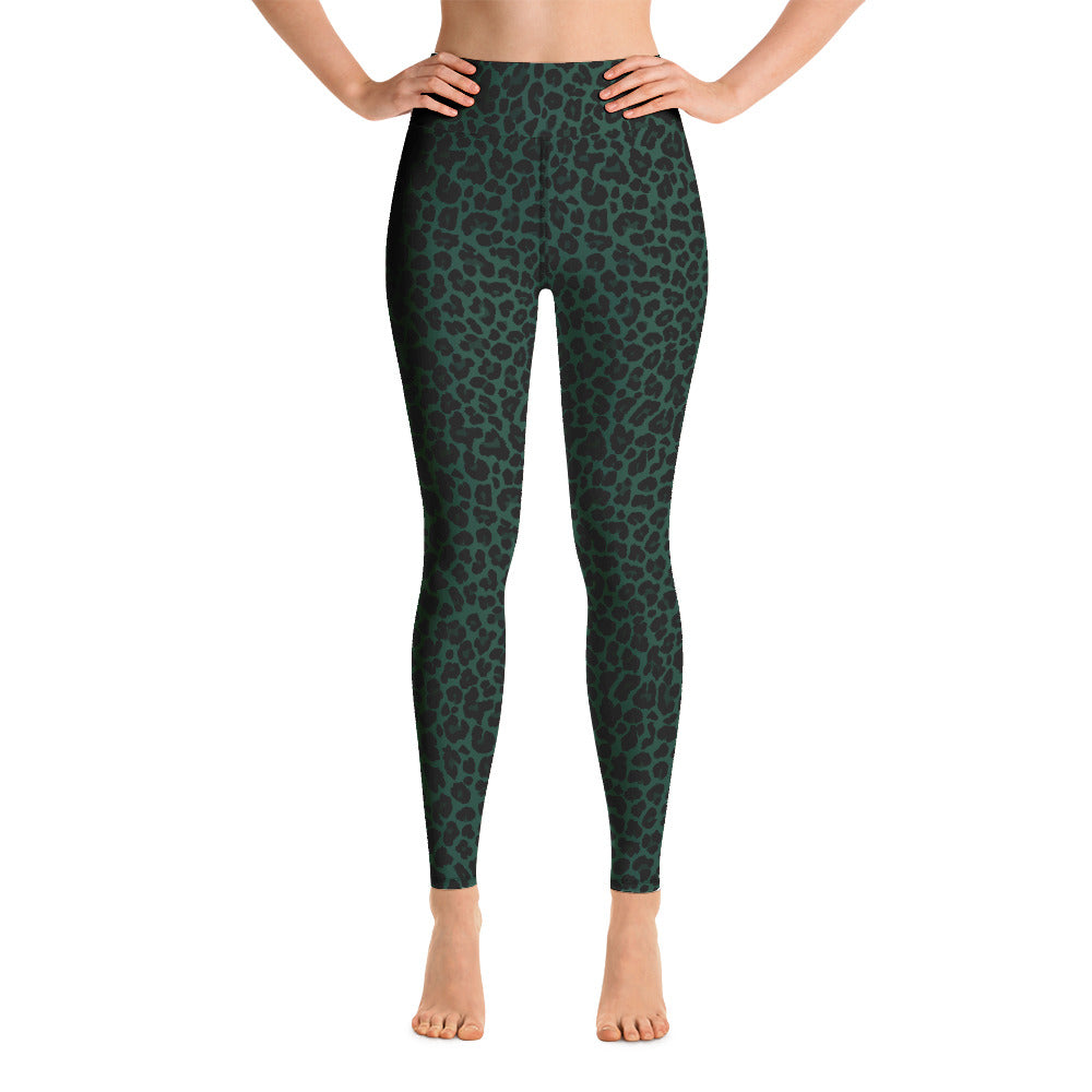 Dark green Leopard print leggings. Print on demand