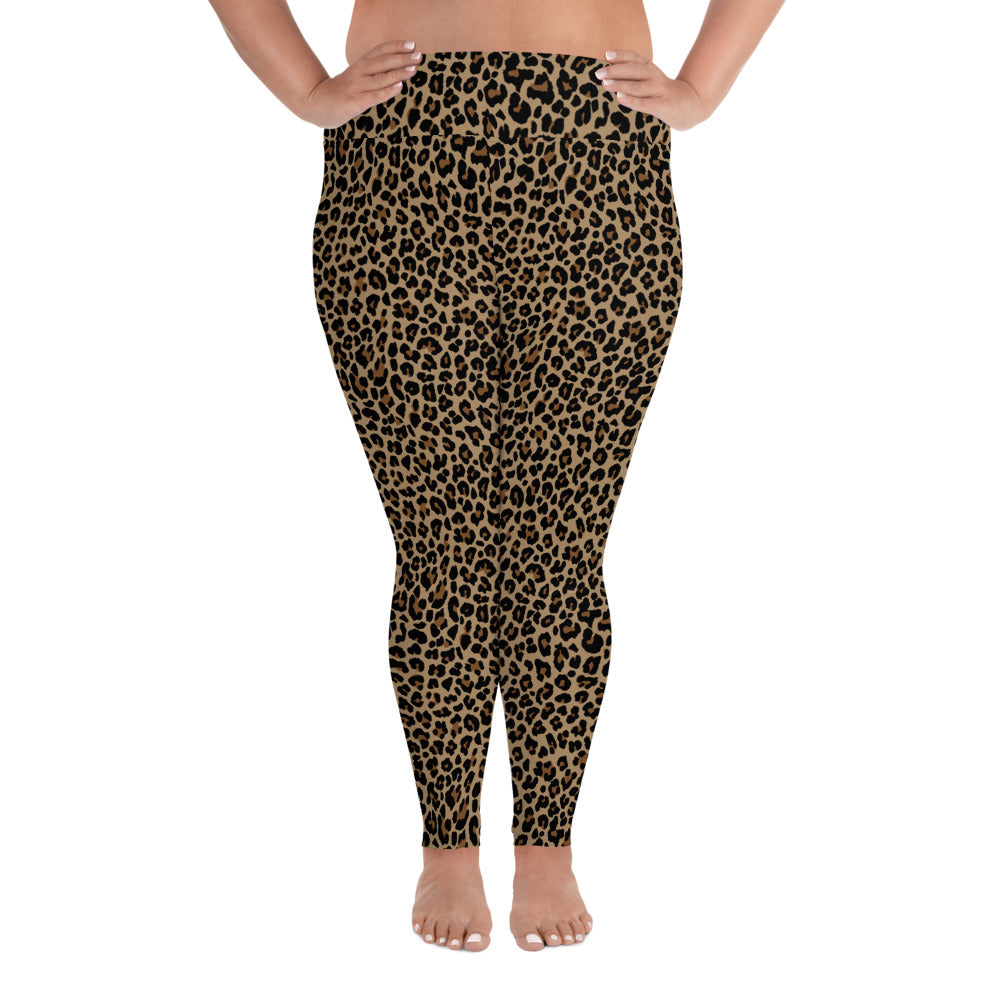 Vintage  Leopard print, plus size leggings. Print on demand