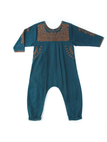 Apolina Kids Anita Jumpsuit - Petrol/ Tawny Brown