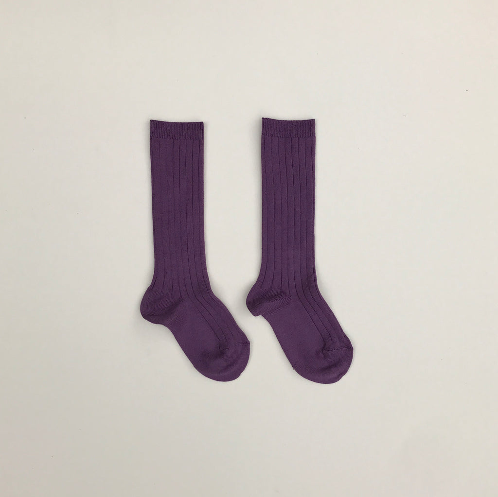 Condor Ribbed Knee-High Socks -Aubergine